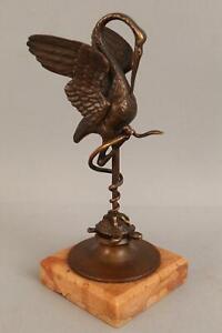19thC Antique Victorian Bronze Crane Snake & Turtle Bronze Pocket Watch Holder