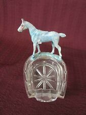 VINTAGE GLASS HORSESHOE ASHTRAY TRINKET DISH W PLASTIC ENGLISH RIDING HORSE