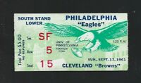 VINTAGE 1961 NFL CLEVELAND BROWNS @ PHILADELPHIA EAGLES FOOTBALL TICKET STUB