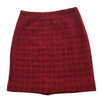Jacobson's Woven Metallic Boucle Skirt Fabric Flower Back Lined Red Size 8 NWT