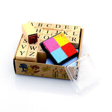 1 Box Alphabet Wood Rubber Stamps Set 26-Letters Scrapbooking w/ 4-Color Inkpad