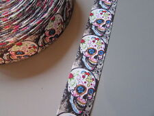 Skull Grosgrain Ribbon 2.2cm  x 1 Metre  Sewing/Costume/Crafts/Cake