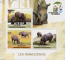 Madagascar 2017 MNH Rhinoceros Rhinos 3v M/S Rhino Wild Animals Stamps