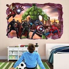 Avengers Superheroes Wall Stickers Mural Decal Hulk Spiderman Iron Man Thor EA79
