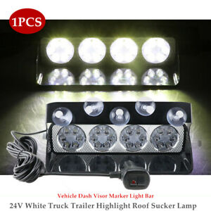 24V White Truck Trailer Auto LED Highlight Roof Sucker Lamp Dash Visor Light Bar