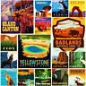 American National Park Fridge Magnet Poster Retro Vintage Cute Art City SET 2
