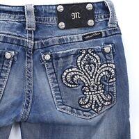 Buckle Miss Me Embellished Fleur De Lis Boot Cut Denim Jeans Womens 27 27x33