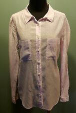 Ann Taylor LOFT Pale Sheer Lavender Rayon Cotton Long Sleeve Dress Blouse M