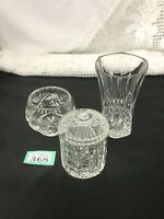 Cut Glass Vase, Bowl & Lidded Jam Pot lead crystal
