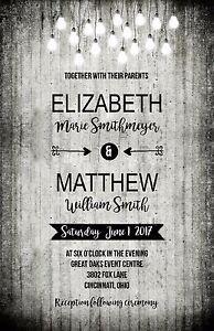 Wedding Invitations Black White Wood Lights Rustic 50 Invitations & RSVP Card