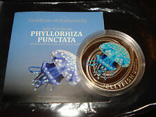 2010 PITCAIRN ISLANDS 2 DOLLARS - JELLYFISH - SILVER PROOF COIN