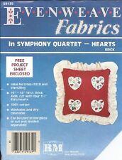 Regency Evenweave Fabrics in SYMPHONY QUARTET ~ HEARTS ~ RED ~ 14 Ct Brick Aida