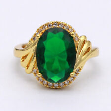unique solid 14k yellow gold Jewelry natural emerald Oval cut 3.05 ct rings 6.0#