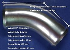 Ansaugrohr Alu Aluminiumrohr 63 mm Turbo Ladeluftrohr Boot LKW Bogen 45° NEU