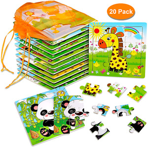 20 Pack Wooden Jigsaw Puzzles for Toddlers Baby Kids  3 4 5Years Old Color Shape