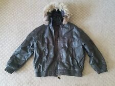 Mens TANNERS AVENUE Brown Leather Embroidered Cross Bomber Jacket Fur Hood 3XL