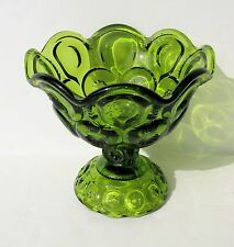 """Smith Wright MOON STAR Green Flared Rim Pedestal Bowl Compote Centerpiece 5 ¼"""" h"""
