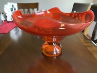 MCM 1960's Viking Glass EPIC Persimmon Orange Footed Dish Compote Bowl