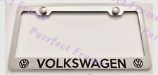 VOLKSWAGEN Stainless Steel License Plate Frame Rust Free W/ Bolt Caps