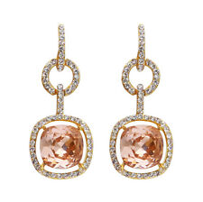 Brown Austrian Crystal Vintage Buckle Square Pierced Dangle Woman Earrings