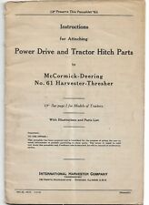 Instructions Power Drive Tractor Hitch Parts on McCormick 61 Harvester Thresher