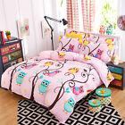 Zip Single Queen King Size Bed Set Pillowcase Quilt/Duvet Cover Cute Pink Owls K