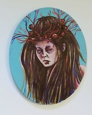 8x10 Oval Surreal Horror Painting of a Woman