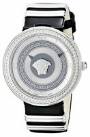 Versace Women's V-Metal Icon VLC010014 Silver Dial Grumette Black Leather Watch