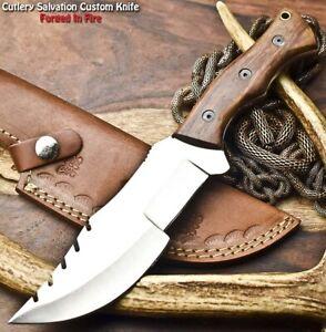 Hand made D2 Tool Steel Hunting Blade Full Tang Tracker Knife   WALNUT WOOD