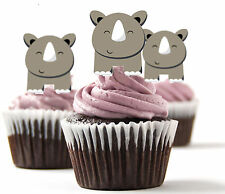 ✿ 24 Edible Rice Paper Cup Cake Topper, decorations - Rhinosaurus ✿