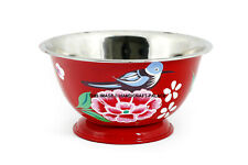 Bird Floral Hand Painted Stainless Steel Serving Bowl Salad Rice Tableware Bowl