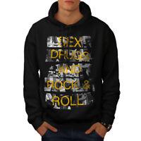 Wellcoda Sex Drugs Rock Roll Mens Hoodie, Free Casual Hooded Sweatshirt