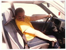 Vintage 80s PHOTO Woman Inside Car In Driver's Seat