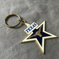 Texas Keychain Keyring Star Longhorn Cow Metal & Enamel
