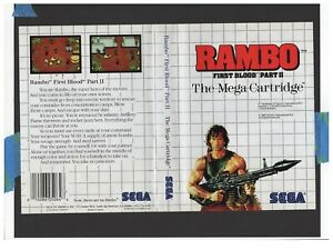Rambo First Blood Part II Sega Master System ARTWORK ONLY Authentic Worn