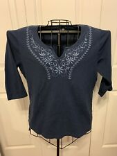 Women's Clothing Molly Maxi Blue Embroidered Blouse Shirt Top Pullover Size 1X