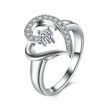 Design Ring 925 Silber Damen Ring Verlobungsring CZ Crystal Herz Ring Gr.18 Neu