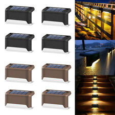 4/8/12X LED Solar Power Deck Railing Lights Fence Door Step Patio Outdoor Lamps