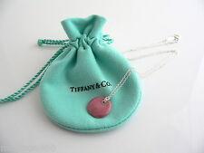 Tiffany & Co Silver Peretti Pink Rhodonite Round Disc Necklace Pendant 17 Inches