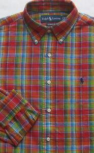Neuf Polo Ralph Lauren Manches Longues Multi Couleur Plaid Coton-Lin Chemise/L