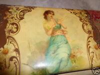 ANTIQUE VICTORIAN ART NOUVEAU LADY FLUTE DAISIES FLORAL CELLULOID DRESSER BOX