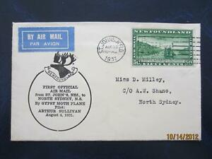 St Johns Newfoundland to North Sydney NS, Aug 4, 1931, , 50 cent airmail [ 800