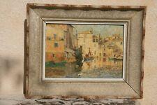 tableau peinture huile sur isorel port de Martigues signé en bas à gauche Olive