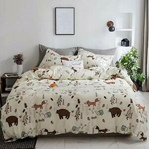 CLOTHKNOW Yellow Bear Duvet Cover Sets Twin Cotton Boys Kids Bedding Beige Ch...