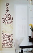 "WINE BOTTLE Decal Sticker GIANT WALL MURAL Vineyard WINERY Theme 23"" x 83"" LARGE"