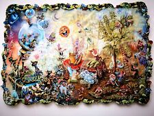 """New Hand Cut Wooden Jigsaw Puzzle """"The Gnome World""""in Wooden Box"""