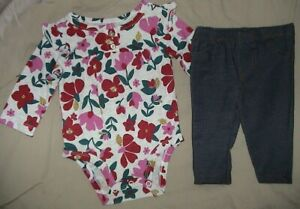 CARTER'S LONG SLEEVED GRAY FLORAL BODY SUIT & JEANS OUTFIT-SIZE 3 MONTHS-NWT
