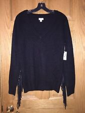 Belle + Sky Black V Neck  Sweater Faux Leather Arm Fringes Womens M NWT Acrylic