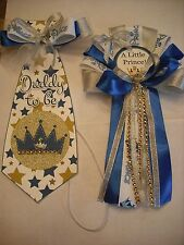 Mommy Blue and silver Baby shower corsage & Prince Tie for Daddy To Be