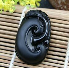 Natural Black Obsidian Pendant ruyi Amulets Jade pendant man woman ornament